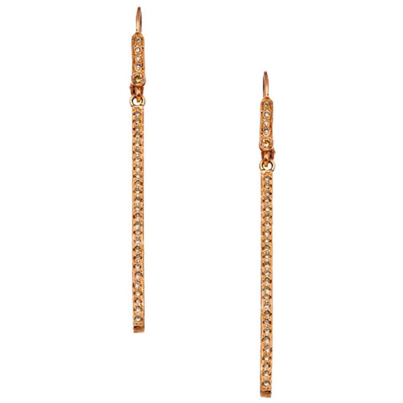 18kt Rose Gold Chocolate Diamond Bar Earrings