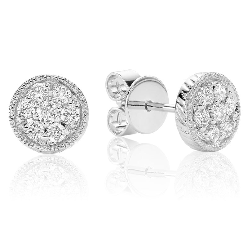 14kt White Gold Diamond Pave Circle Earrings