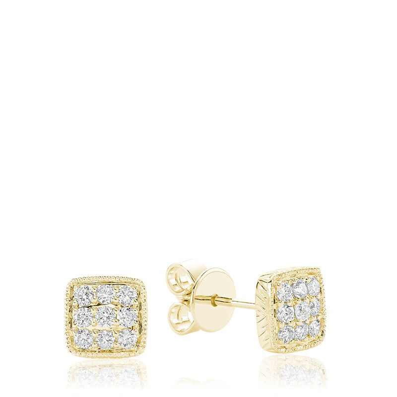 14kt Yellow Gold Diamond Pave Square Earrings