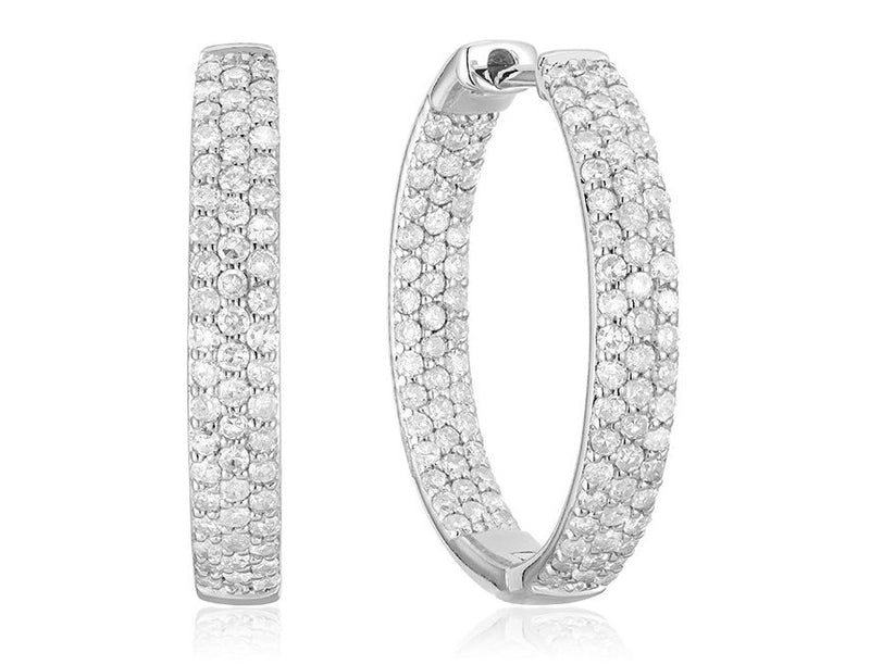 14kt White Gold Pave Inside Out Diamond Hoops