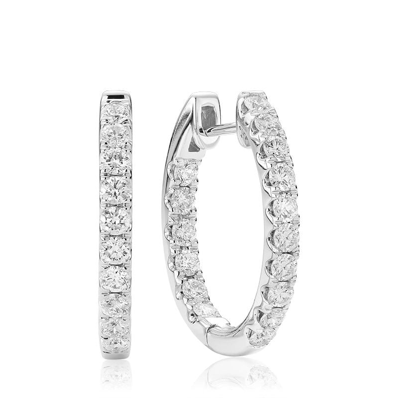 14kt White Gold Oval Inside-Out Diamond Earrings