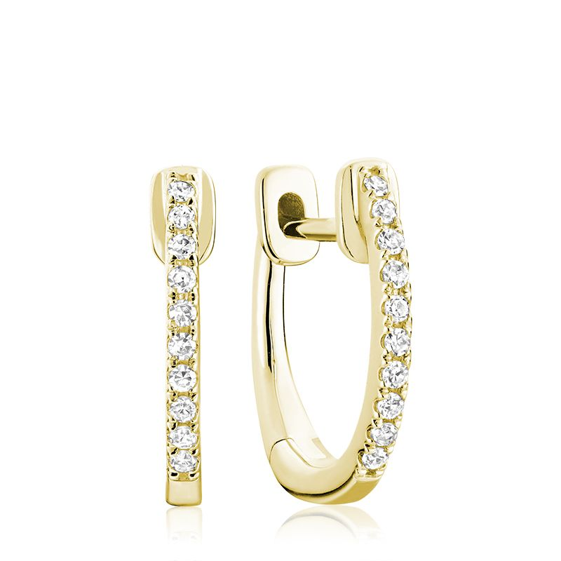 14kt Yellow Gold Diamond Huggie Hoops