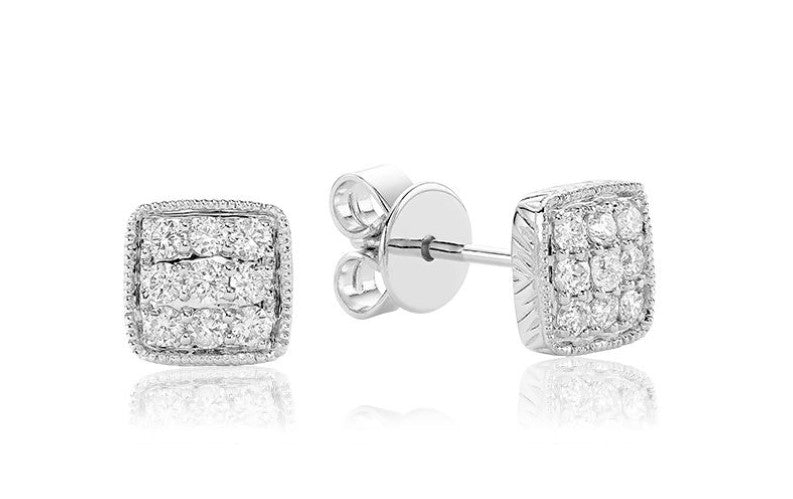 14kt White Gold Diamond Pave Square Earrings