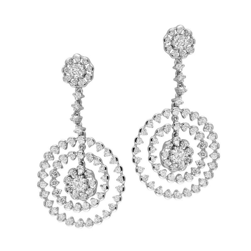 18kt White Gold Multi Circle Floral Diamond Earrings