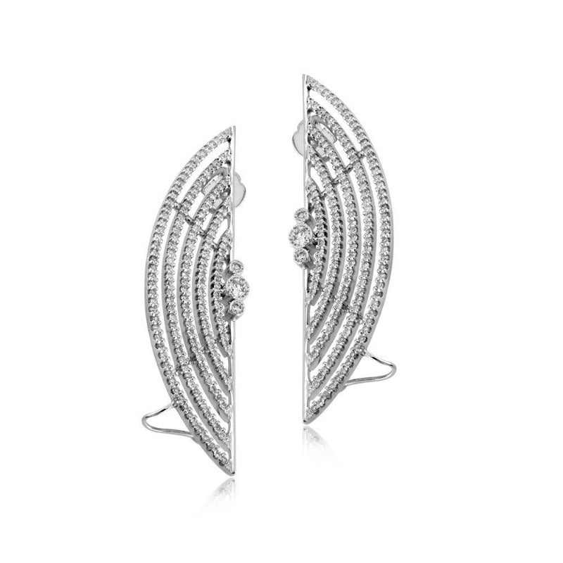 18kt White Gold Diamond Earring Cuffs