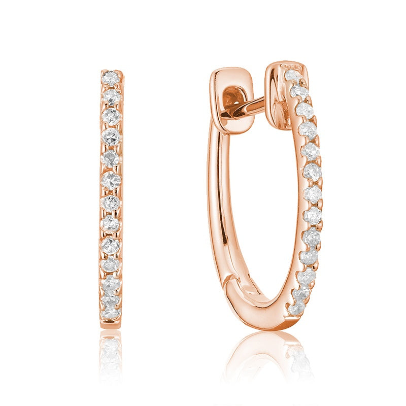 Small 14kt Rose Gold Oval Diamond Hoop