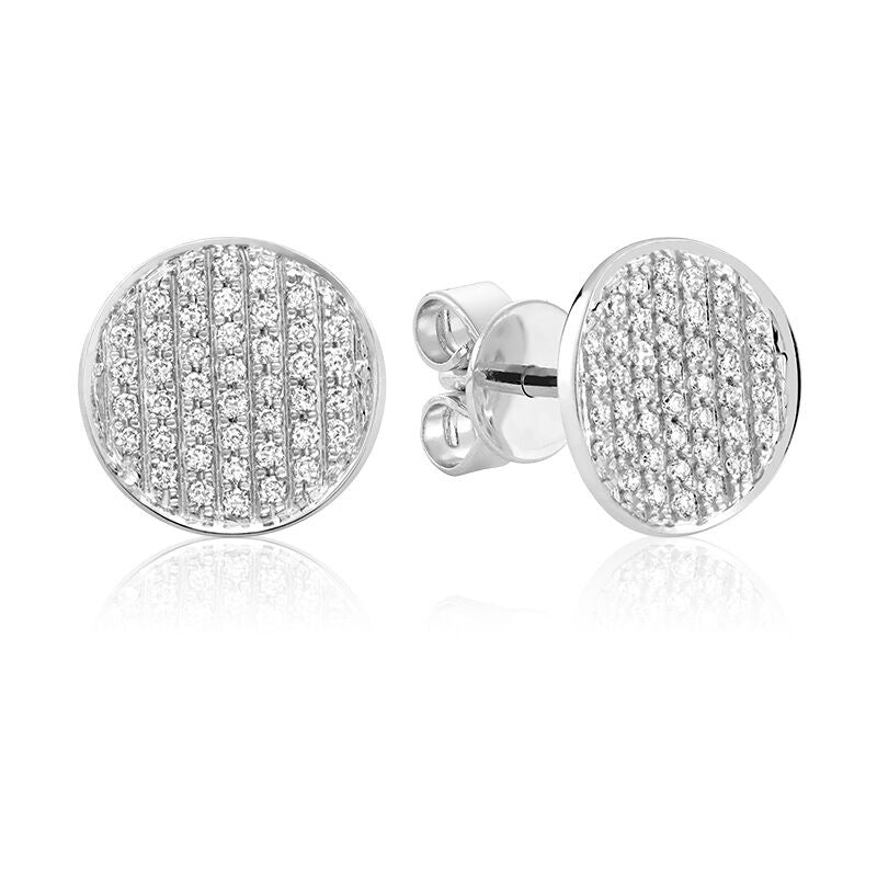 White Gold Pave Diamond Concave Earrings