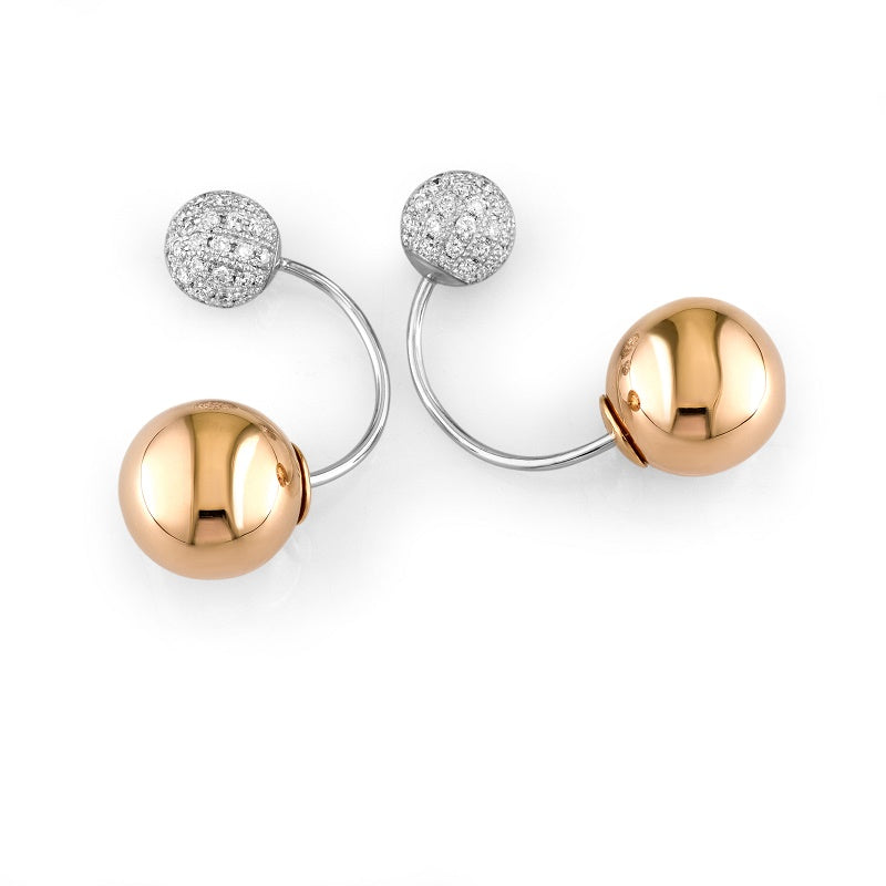 18kt Rose Gold Diamond Ball Earrings
