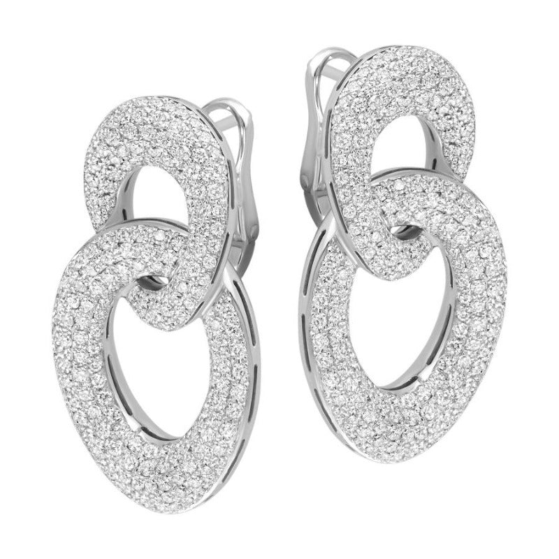 18kt White Gold Interlocked Oval Link Earrings