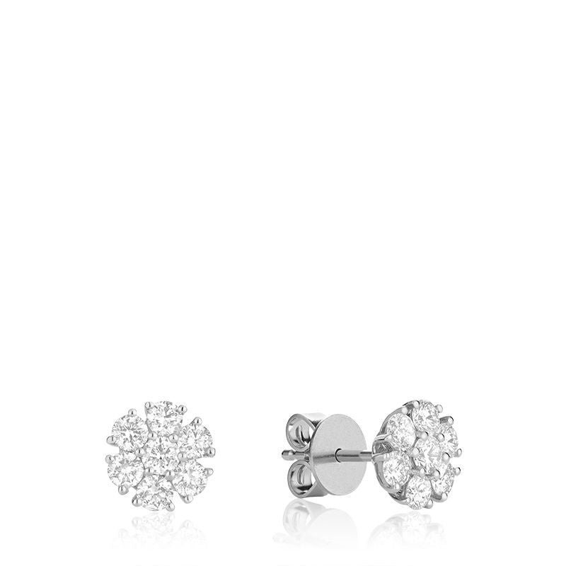 14kt White Gold Floral Diamond Cluster Stud Earrings