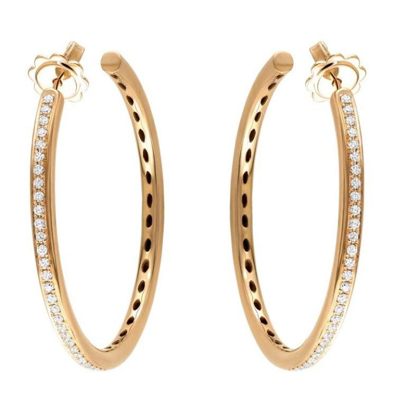 18kt Rose Gold Diamond Set Hoop Earrings