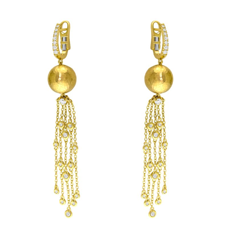 18kt Yellow Gold Ball and Tassel Drop Earring