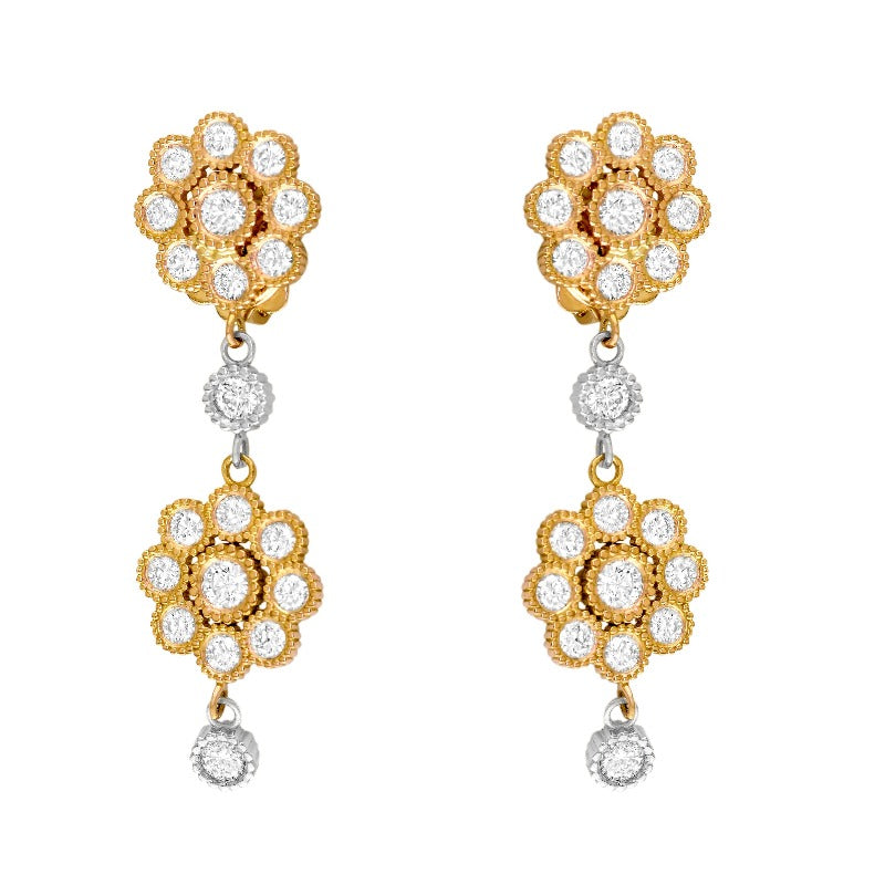 18kt Rose and White Gold Diamond Floral Earrings