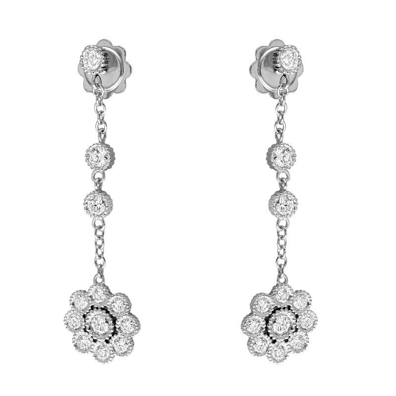 18kt White Gold Floral Drop Earring
