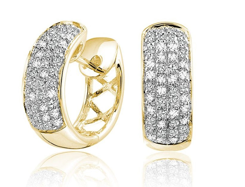 14kt Yellow Gold Pave Hoops