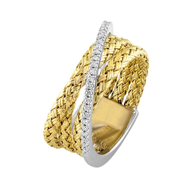 18kt Yellow Gold Woven Diamond Ring