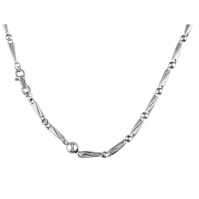 Sauro 18kt White Gold Paper Link Necklace