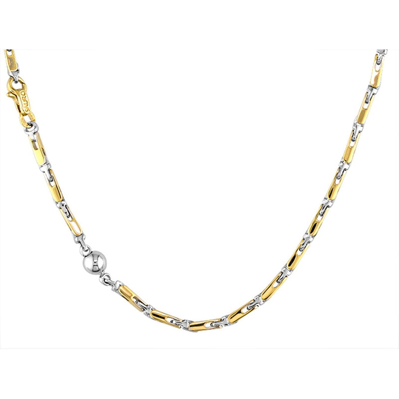 Sauro 18kt Yellow & White Gold Solid Link Necklace