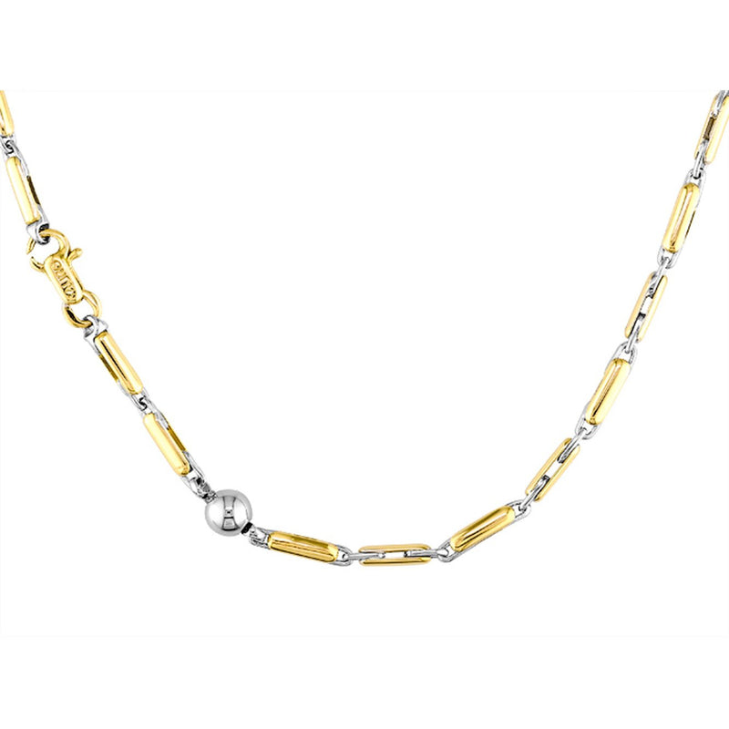 Sauro 18kt Yellow & White Gold Sandwich Link Necklace