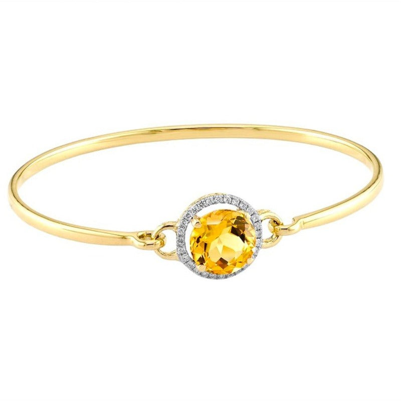 18kt Yellow Gold Citrine & Diamond Bangle