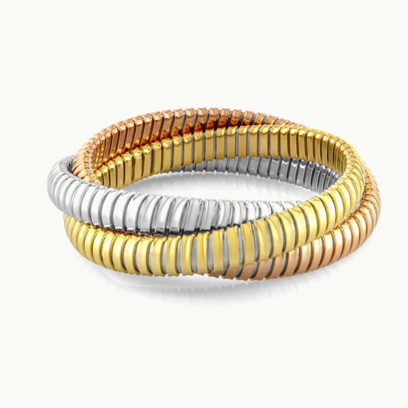 18kt Tricolour Gold Roller Bangle