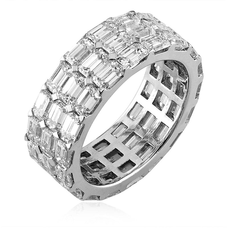 18kt White Gold 3 Row Emerald Cut Diamond Eternity Band