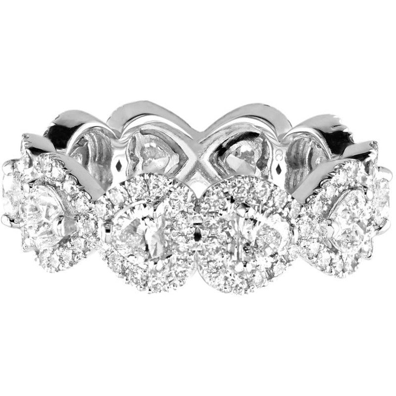 18kt White Gold Diamond Heart Halo Eternity Band