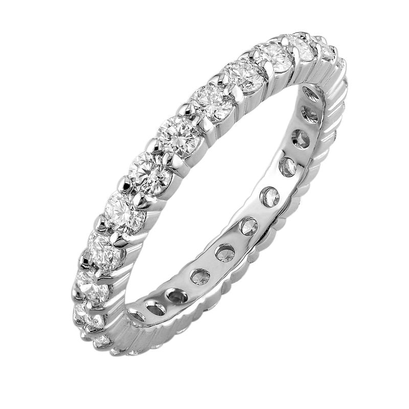 18kt White Gold Round Brilliant Shared Claw Diamond Eternity Band