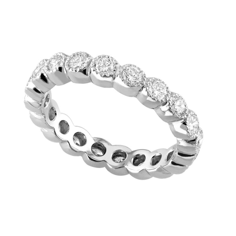 18kt White Gold Milgrain Diamond Eternity Band 1.25ct