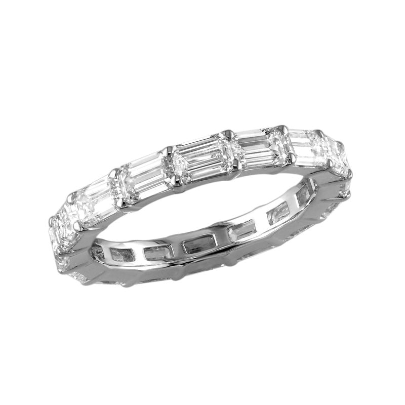 18kt White Gold East West Emerald Cut Diamond Eternity Band