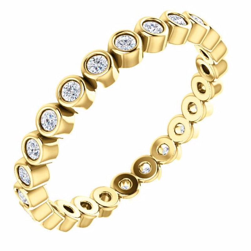 18kt Yellow Gold 1/3 Carat Diamond Bezel Eternity Band