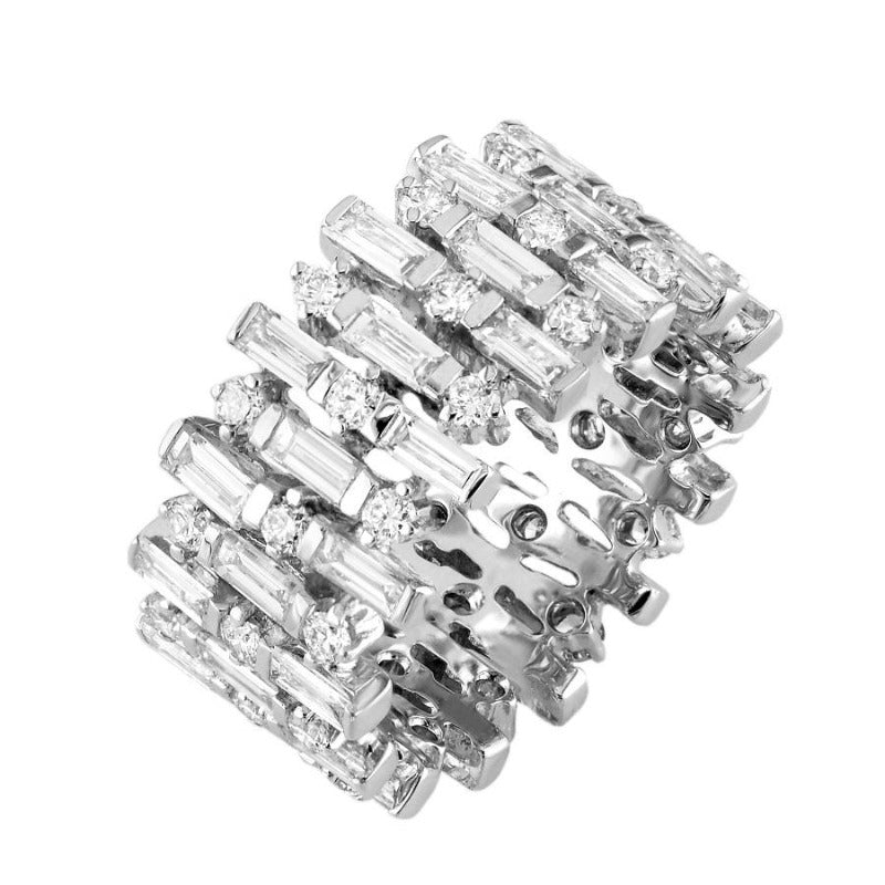 18kt White Gold Baguette and Round Diamond Eternity Band