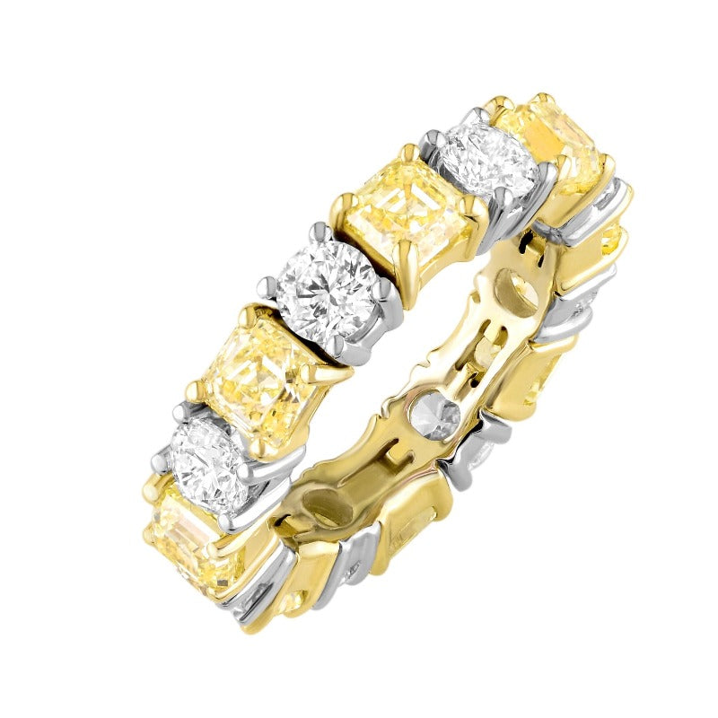 18kt Yellow and White Alternating Diamond Eternity Band