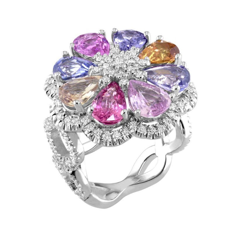 18kt White Gold Multi Coloured Sapphire & Diamond Ring