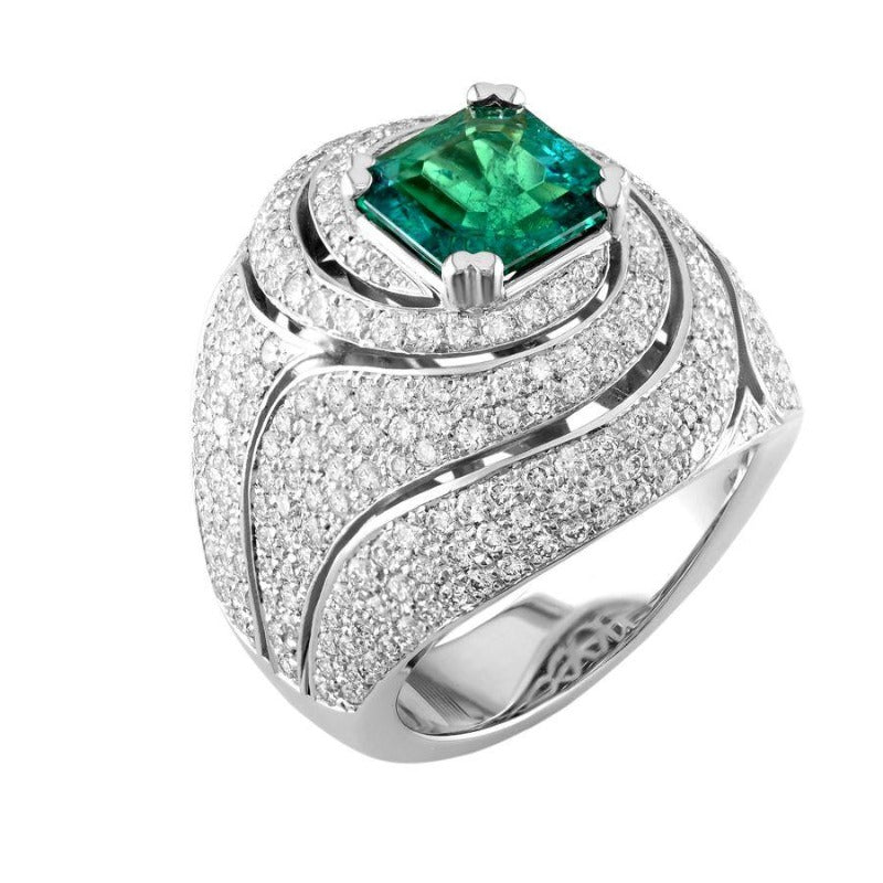 18kt White Gold Swirl Pave Emerald & Diamond Rin