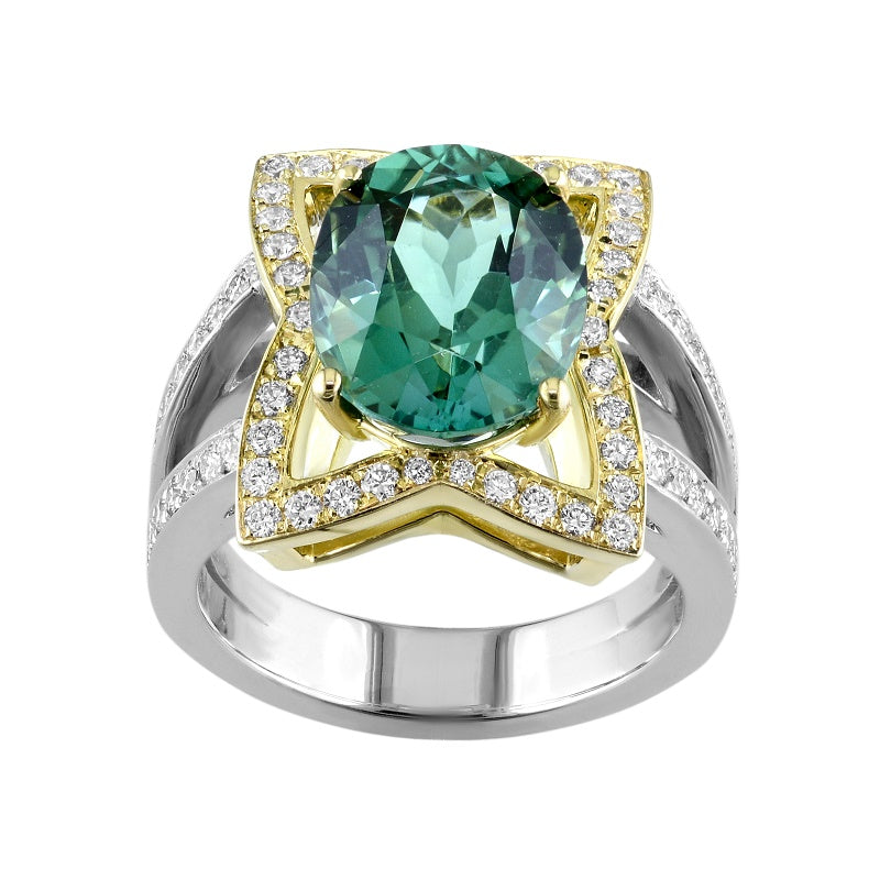 18kt Yellow and White Gold Green Tourmaline Diamond Ring