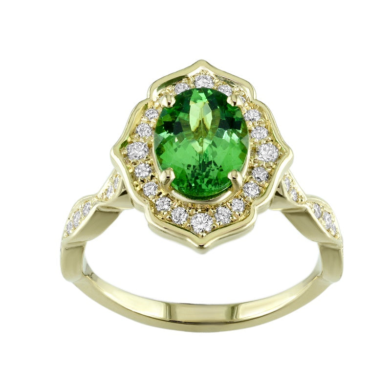 18kt Yellow Gold Green Tsavorite Diamond Ring