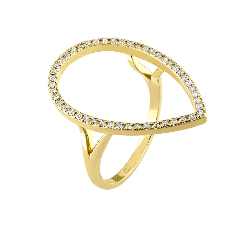 14kt Yellow Gold Open Pear Shape Diamond Ring