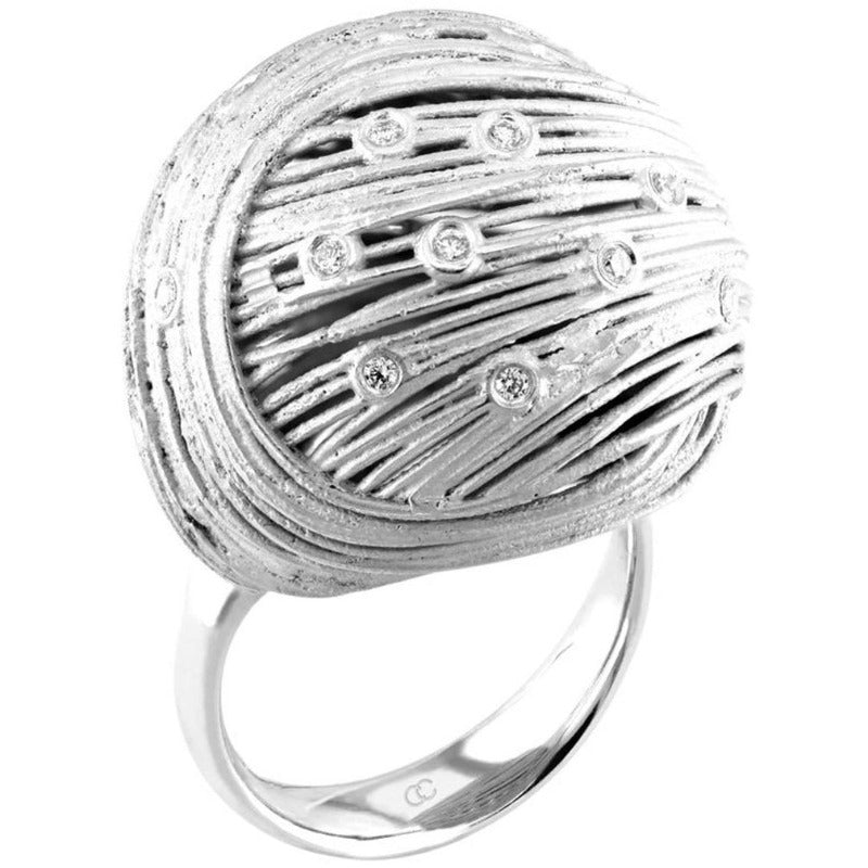 18kt White Gold Diamond Weave Ring