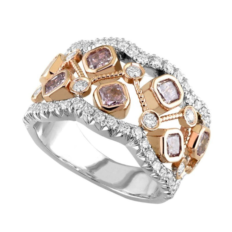 18kt Rose Gold Pink and White Diamond Ring