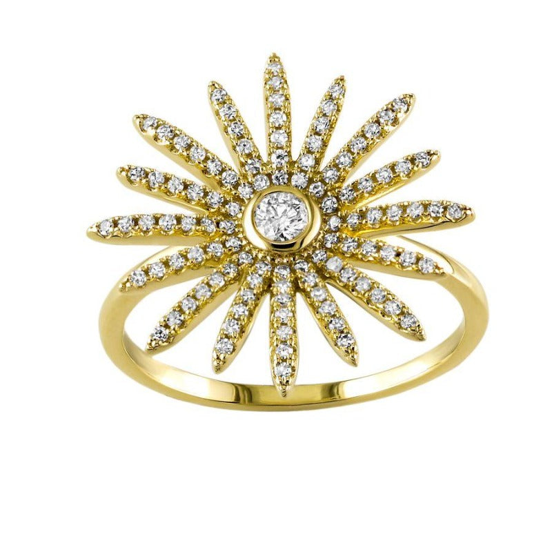 14kt Yellow Gold Diamond Sunburst Ring