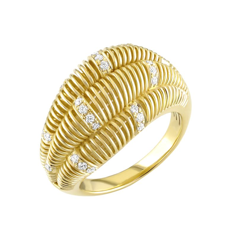 18kt Yellow Gold Coil Wave Diamond Ring