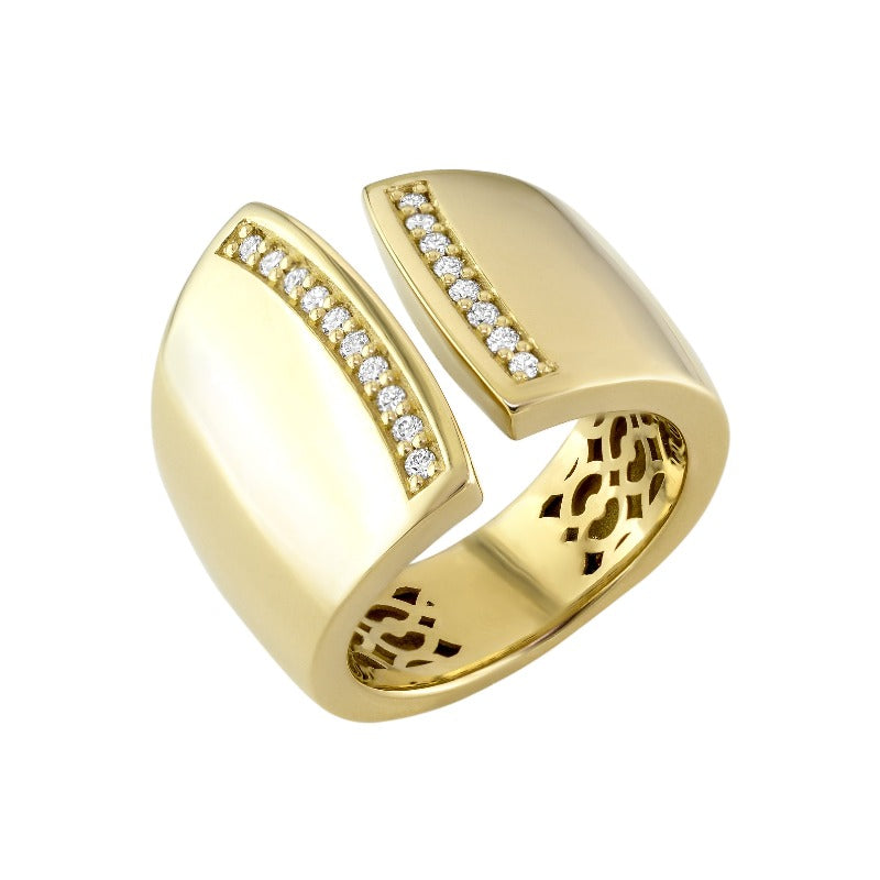 18kt Yellow Gold Open Diamond Band