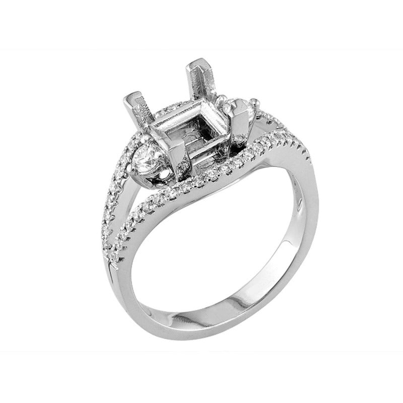 18kt White Gold Square Split Shank Diamond Engagement Ring Mount