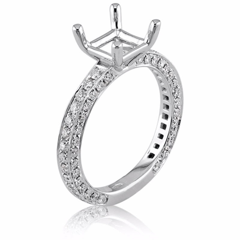18kt White Gold Pave Square Engagement Ring Mount