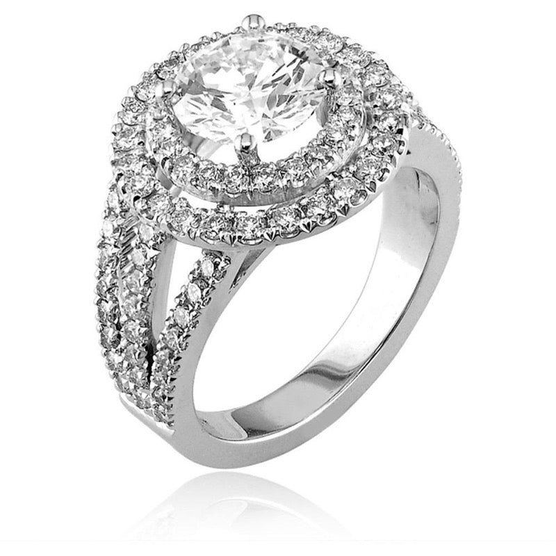 18kt White Gold Diamond Double Halo Engagement Ring Mount