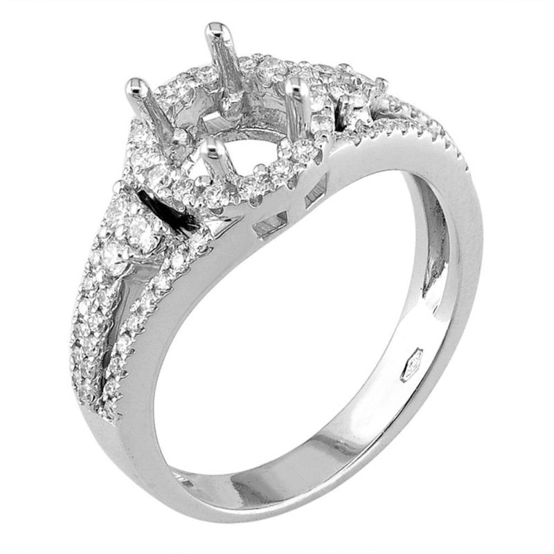 18kt White Gold Triple Shank Diamond Halo Engagement Ring Mount