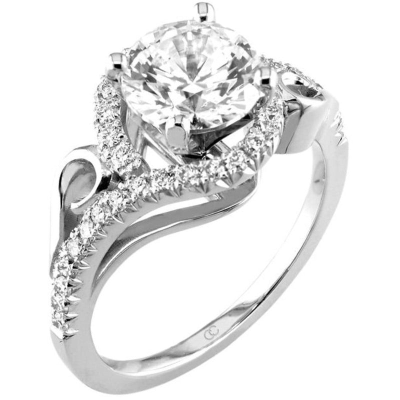 18kt White Gold Round Brilliant Wrap Around Halo Engagement Ring Mount