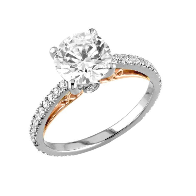18kt White and Rose Gold Scrollwork Engagement Ring Mount