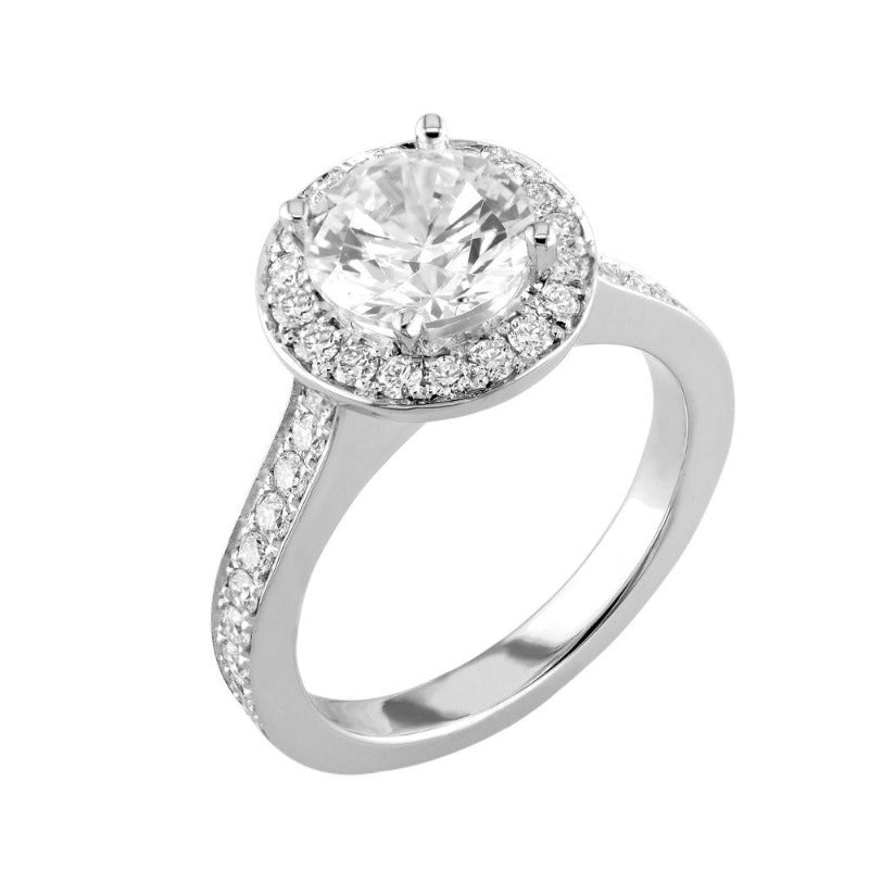 18kt White Gold Pave Set Halo Engagement Ring